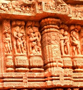 Sexual images at Konark sun temple, India