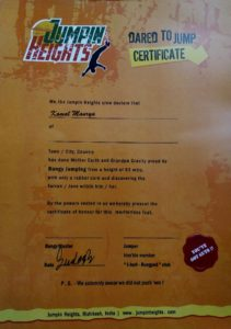 bungee jumping certificate