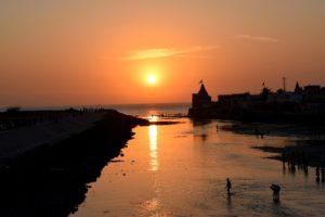 confluence of Gomti river & Dwarka Sea